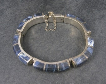 Heavy Vintage Mexican Sterling Sodalite Inlay Bracelet 6.75 Inches