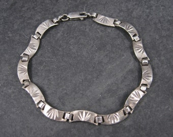 Vintage Sterling Etched Link Bracelet 7.5 inches
