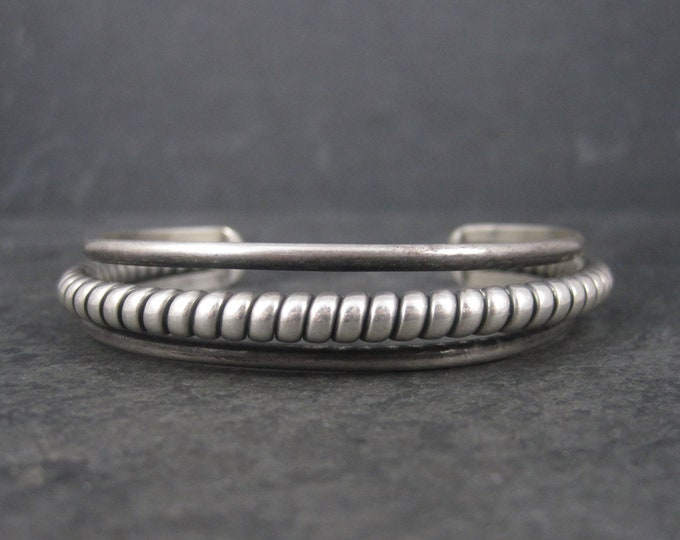 Vintage Southwestern Sterling Twisted Cuff Bracelet 6.25 Inches