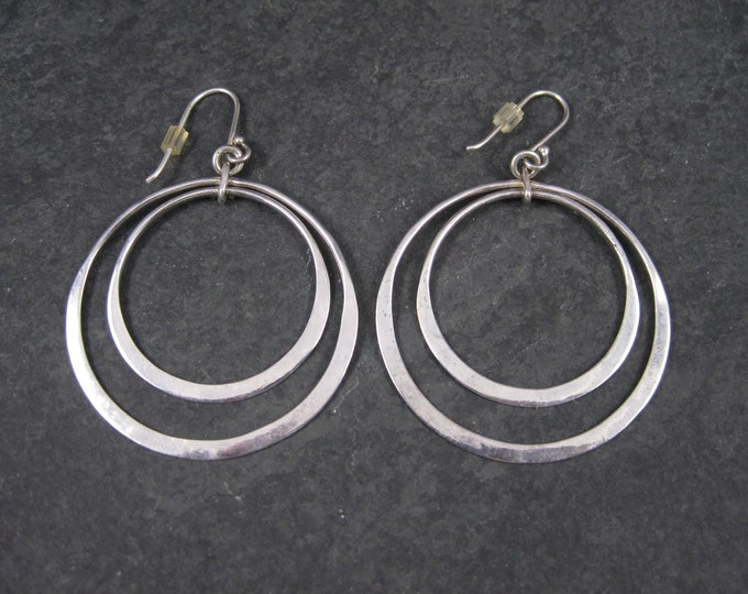 Large Sterling Double Circle Earrings