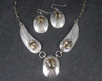 Vintage Southwestern Sterling Citrine Necklace Earrings Jewelry Set