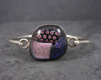 Vintage Dichroic Glass Sterling Bangle Bracelet