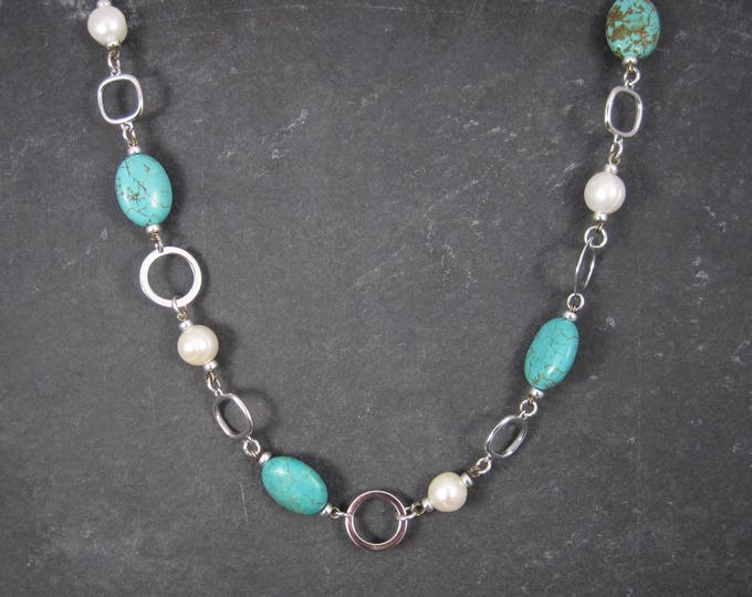 Sterling Turquoise Howlite Pearl Necklace 18 inches