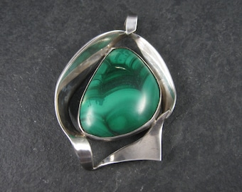 Large Modernist Mexican Sterling Vintage Malachite Pendant