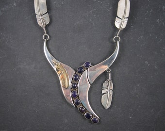 Vintage Navajo Sugilite Feather Necklace William Vandever