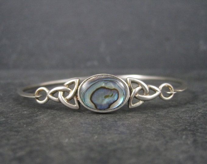 Vintage Celtic Triquetra Abalone Sterling Bangle Bracelet 7 Inches