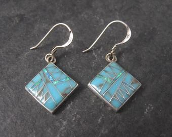 90s Vintage Southwestern Sterling Opal Turquoise Inlay Earrings