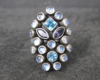 Nicky Butler Sterling Amethyst Topaz Moonstone Ring Size 8
