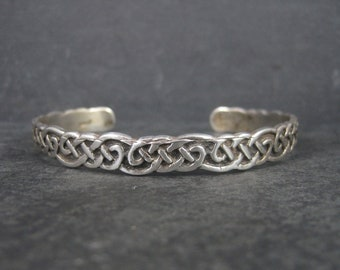 Vintage Sterling Celtic Knot Cuff Bracelet 7.25 Inches