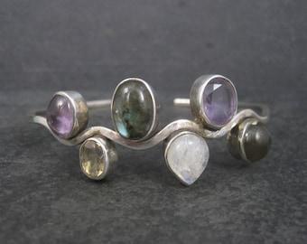 Vintage Sterling Amethyst Moonstone Labradorite Cuff Bracelet 8 Inches