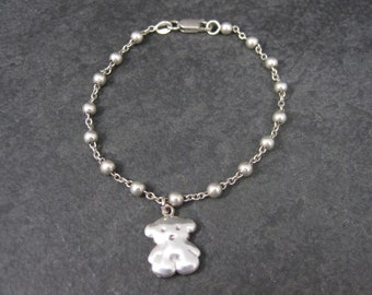 Vintage Sterling Teddy Bear Charm Bracelet 7.5 Inches