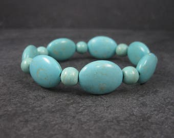 Turquoise Howlite Stretchy Bracelet 6 Inches