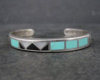 Vintage Southwestern Sterling Turquoise Onyx Mother of Pearl Inlay Cuff Bracelet 5.5 Inches
