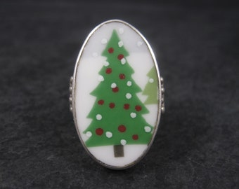 Vintage Sterling Porcelain Christmas Tree Ring Size 8