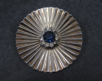 Vintage Sterling Blue Rhinestone Circle Brooch