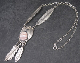 Vintage Southwestern Sterling Pink Mother of Pearl Feather Necklace