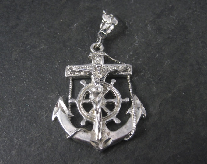 Vintage Silver Plated Anchor Crucifix Pendant