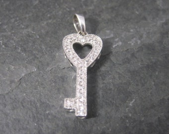 Vintage 10K White Gold Diamond Heart Key Pendant