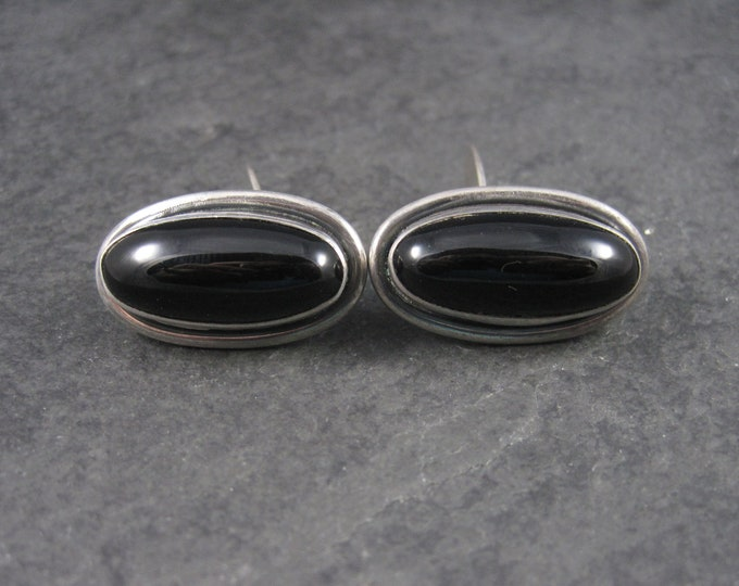 Large Vintage Sterling Onyx Cufflinks Cuff Links