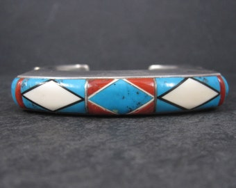 Huge Vintage Square Navajo Turquoise Coral Inlay Cuff Bracelet 7 Inches