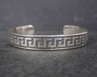 Vintage Mexican Sterling Tribal Cuff Bracelet 7 Inches