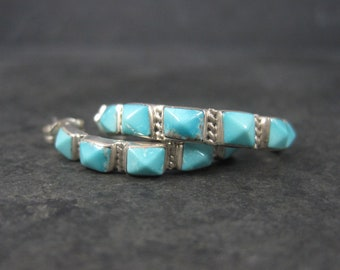 Vintage Southwestern Sterling Pyramid Turquoise Half Hoop Earrings