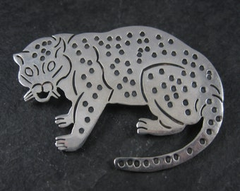 Vintage Mexican Sterling Jaguar Cat Brooch