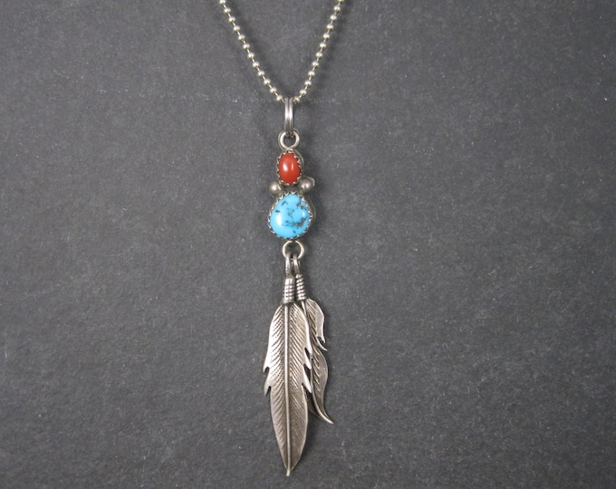 Vintage Southwestern Sterling Turquoise Coral Feather Pendant
