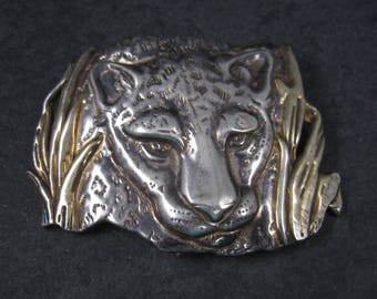 Large Vintage Electroform Sterling Leopard Brooch Pendant Panther Jaguar Cat Jewelry