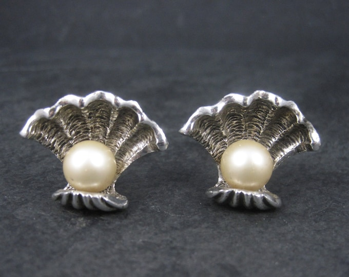 Large Vintage Pearl Clam Shell Nautical Cufflinks Judy Lee