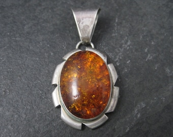 Vintage Navajo Sterling Amber Pendant Necklace