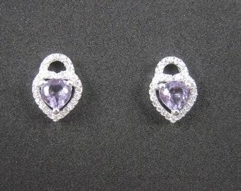 90s Vintage Sterling Amethyst Heart Stud Earrings