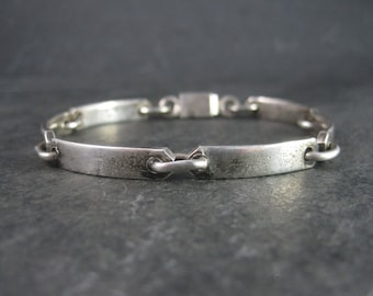 Vintage Mexican Sterling Link Bracelet 7.5 Inches