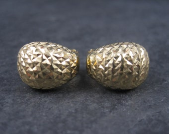 Vintage 14K Diamond Cut French Post Earrings