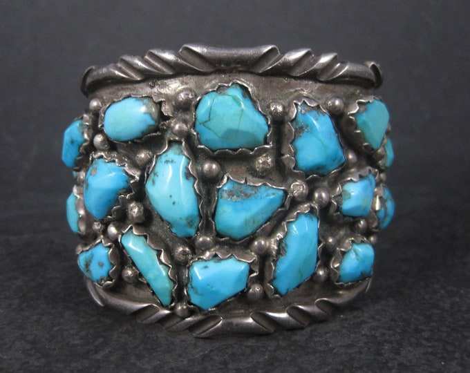 Huge Sterling Turquoise Cuff Bracelet Angelita Cheama 6.5 Inches