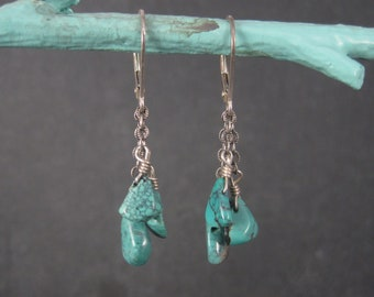 Vintage Sterling Turquoise Dangle Leverback Earrings