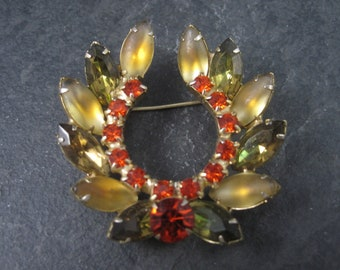 Vintage Juliana Orange Green Gold Rhinestone Brooch