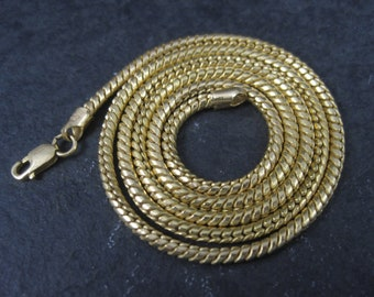 Vintage 2mm Italian 14K Snake Chain Necklace 18 Inches