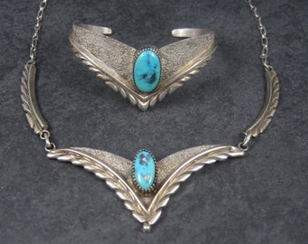 Vintage Navajo Turquoise Jewelry Set Sterling Cuff Bracelet and Necklace