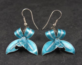 Vintage Sterling Blue Enamel Lily Earrings