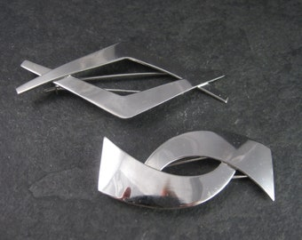 Lot of 2 Sterling Silver Hair Barrettes by Danecraft