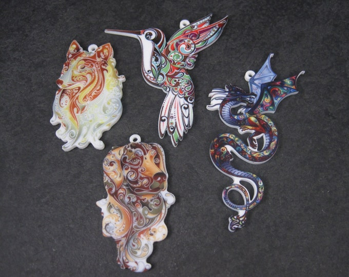 Destash Lot of 4 Collie Labrador Hummingbird Pendants