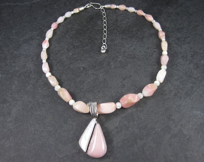 Estate Pink Mother of Pearl Necklace Pendant Jewelry Set