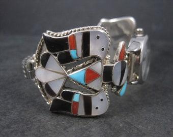 Vintage Zuni Inlaid Thunderbird Watch Band Tips Working Bobby Corraine Shack