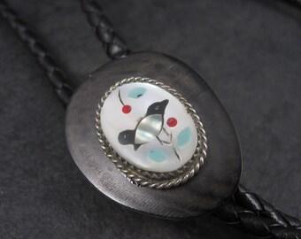 291f38de645a Vintage Zuni Sterling Wood Bird Inlay Bolo Tie