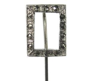 Vintage Sterling Marcasite Stick Pin