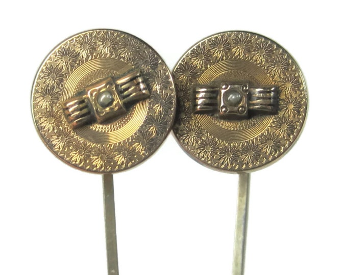 Set of 2 Antique Gold Filled Seed Pearl Stick Pins