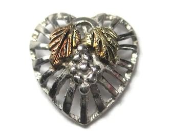 Vintage Black Hills Sterling Heart Tie Tack