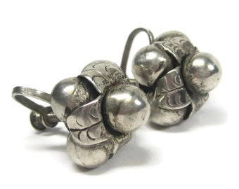 Antique Mexican Sterling Screw Back Earrings