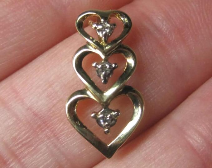 Dainty Vintage 10K Diamond Heart Pendant Necklace